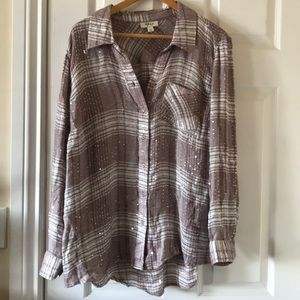FLAWED- Semi sheer soft plaid shirt with sequins